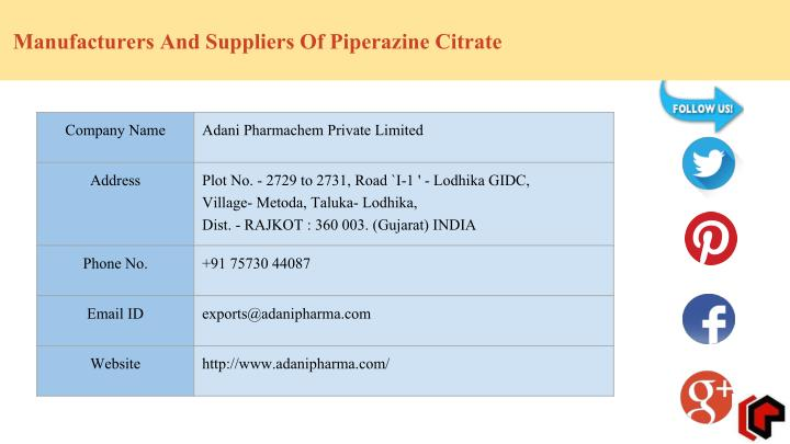 Manufacturers And Suppliers Of Piperazine Citrate
