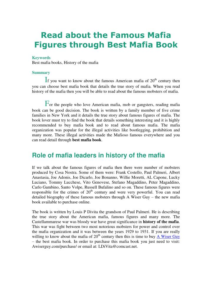 Read about the Famous Mafia