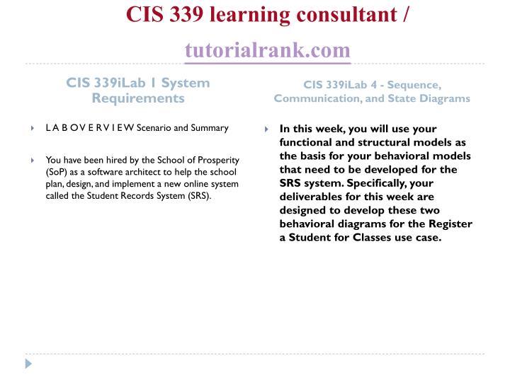 Cis 339 learning consultant tutorialrank com2
