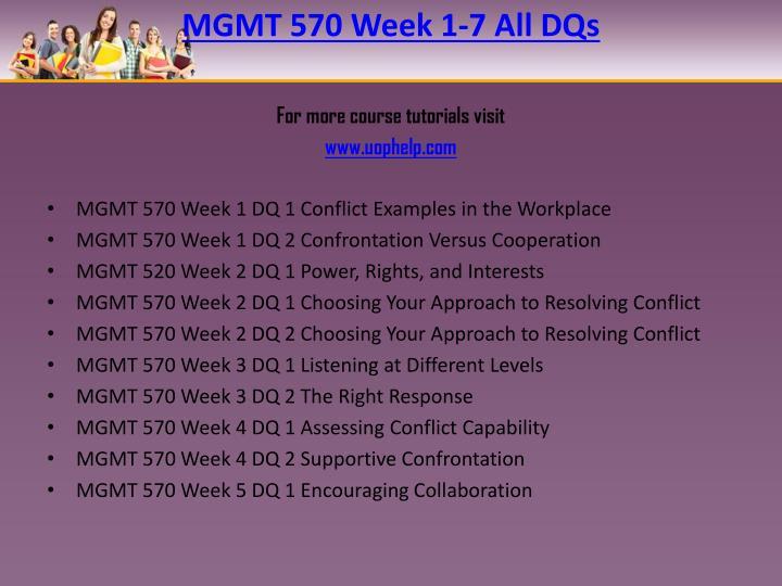 MGMT 570 Week 1-7 All DQs