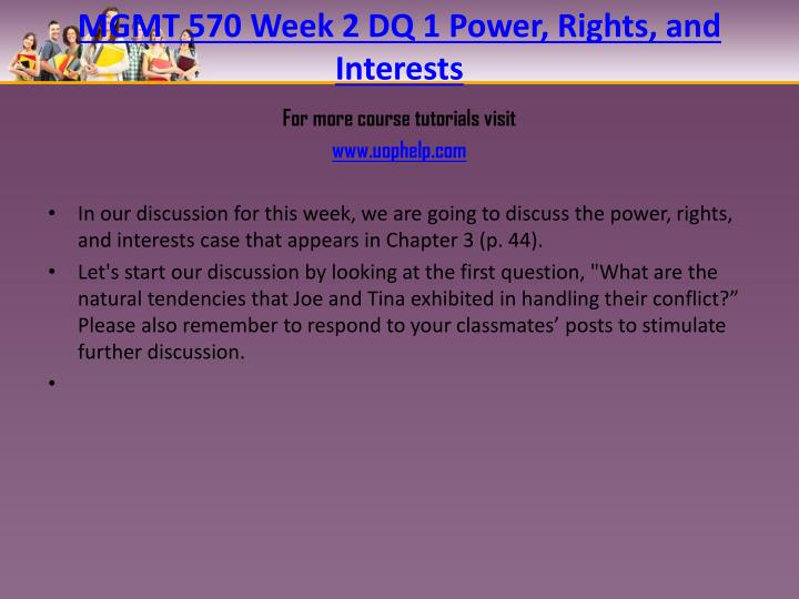 MGMT 570 Week 2 DQ 1 Power, Rights, and