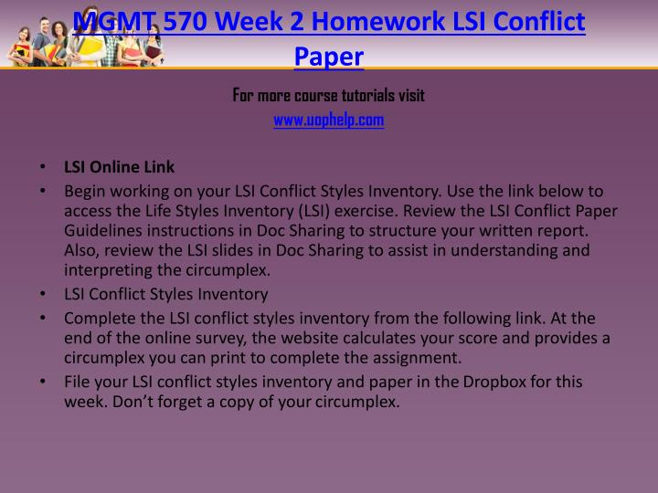 MGMT 570 Week 2 Homework LSI Conflict