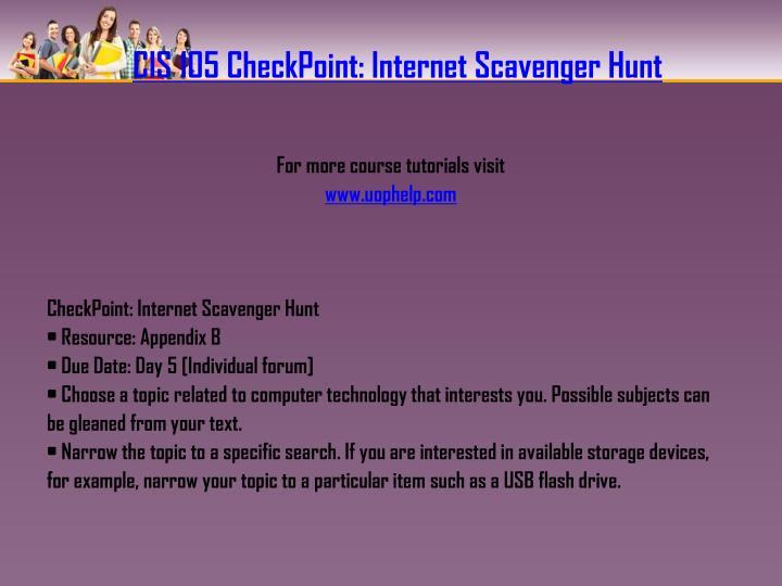 CIS 105 CheckPoint: Internet Scavenger Hunt