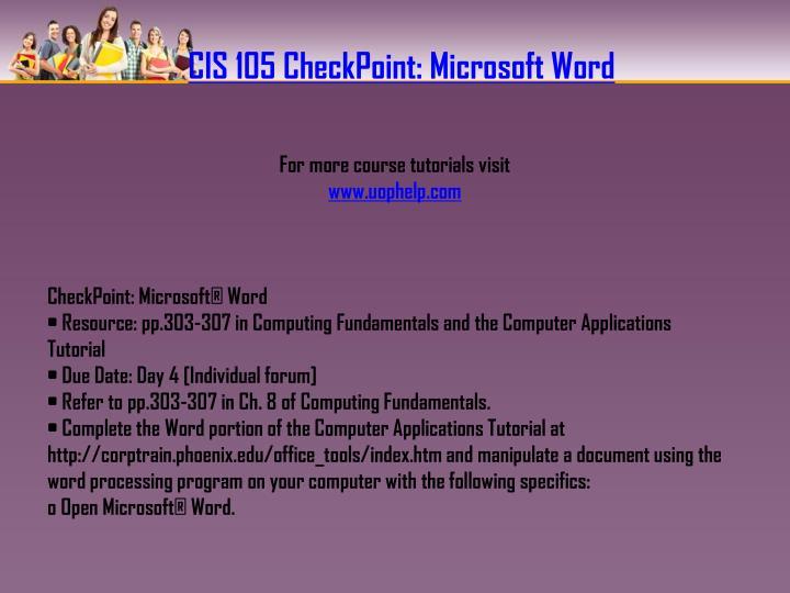 CIS 105 CheckPoint: Microsoft Word