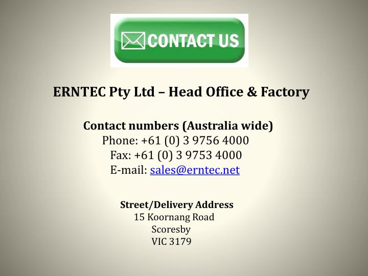 ERNTEC Pty Ltd – Head Office & Factory