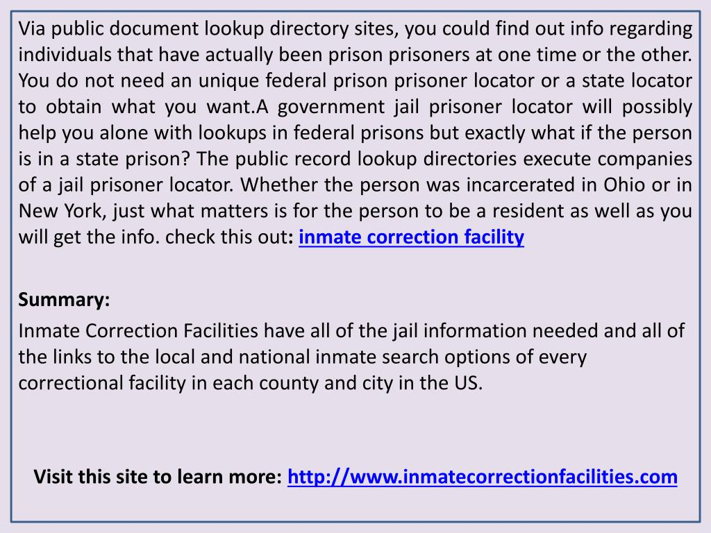 PPT - Inmate Correction Facilities - Prison Inmate Search Services