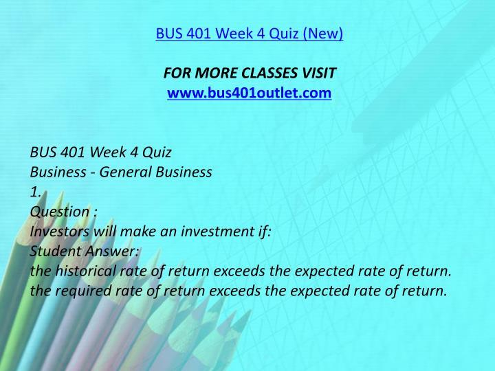 BUS 401 Week 4 Quiz (New