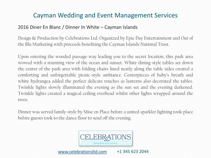 Cayman Wedding and Event Management Services