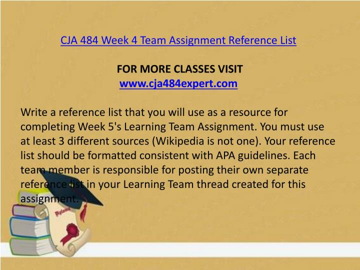 CJA 484 Week 4 Team Assignment Reference List