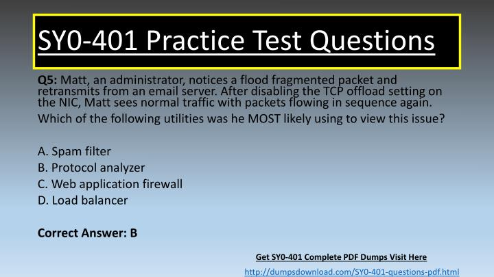 SY0-401 Practice Test Questions
