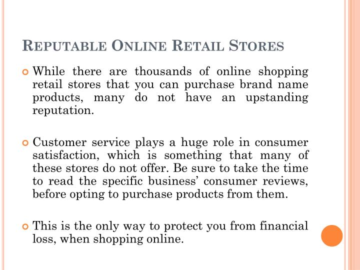 Reputable Online Retail Stores