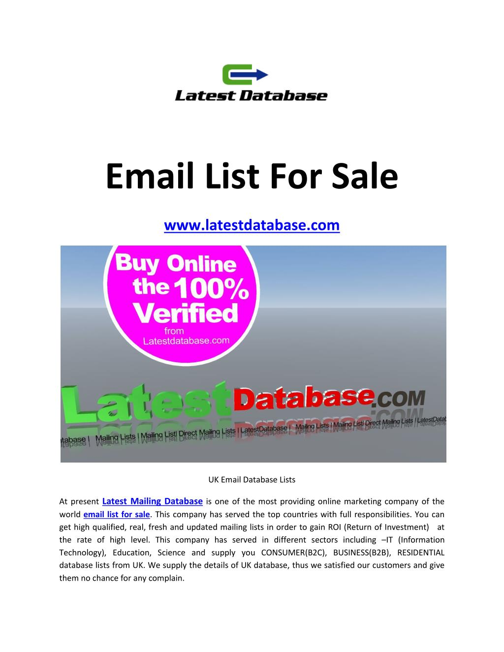 PPT - Email List For Sale PowerPoint Presentation - ID:7346795
