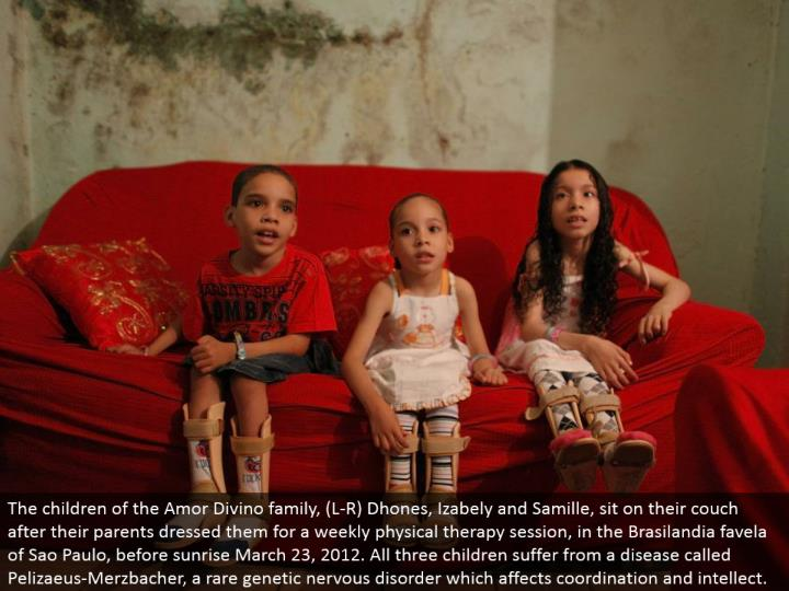 The offspring of the Amor Divino family, (L-R) Dhones, Izabely and Samille, sit on their love seat after their folks dressed them for a week by week active recuperation session, in the Brasilandia favela of Sao Paulo, before dawn March 23, 2012. Every one of the three kids experience the ill effects of an illness called Pelizaeus-Merzbacher, an uncommon hereditary anxious issue which influences coordination and intellect.