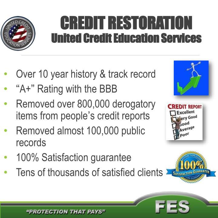 Credit restoration united credit education services