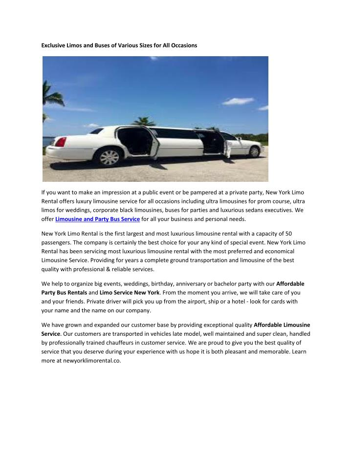 Exclusive Limos and Buses of Various Sizes for All Occasions