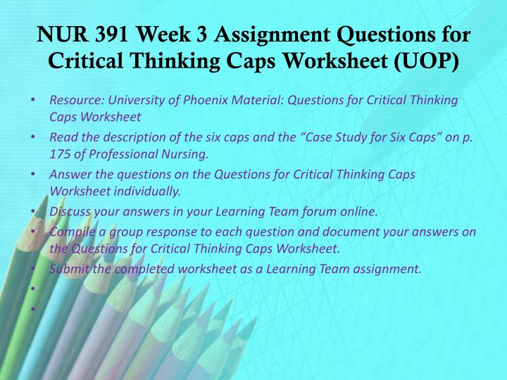 NUR 391 Week 3 Assignment Questions for Critical Thinking Caps Worksheet (UOP)