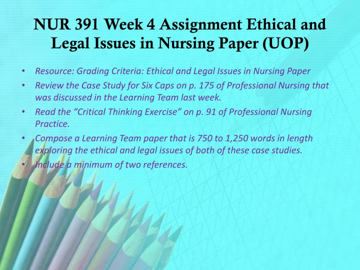 NUR 391 Week 4 Assignment Ethical and Legal Issues in Nursing Paper (UOP)
