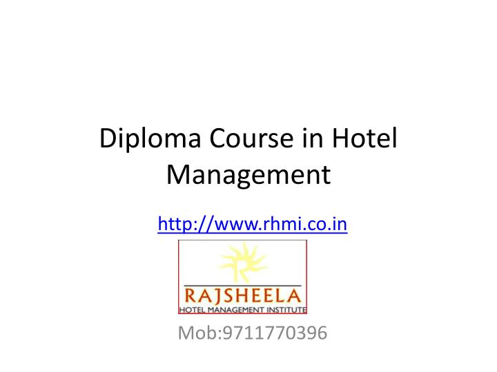 diploma course in hotel management n.