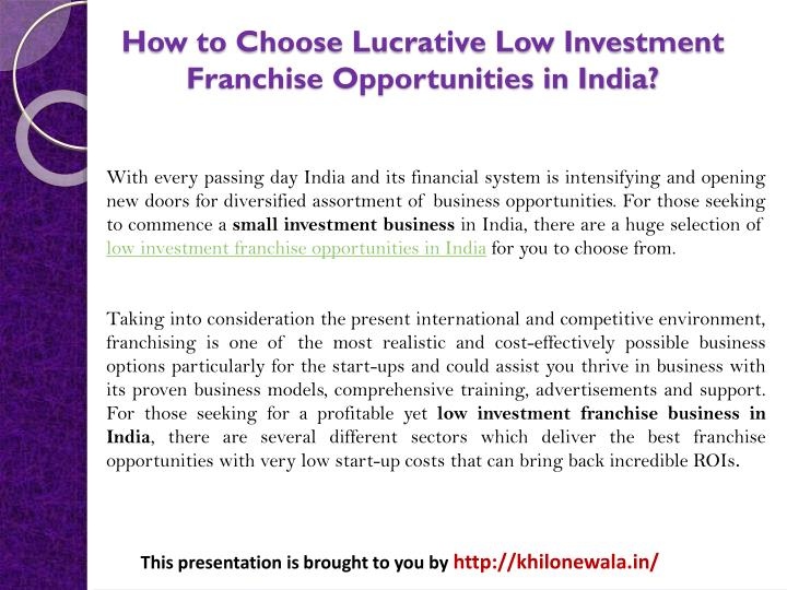how to choose lucrative low investment franchise opportunities in india n.