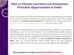 how to choose lucrative low investment franchise opportunities in india