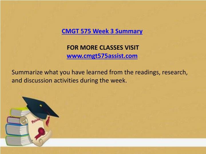 CMGT 575 Week 3 Summary