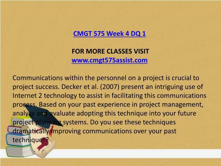 CMGT 575 Week 4 DQ 1