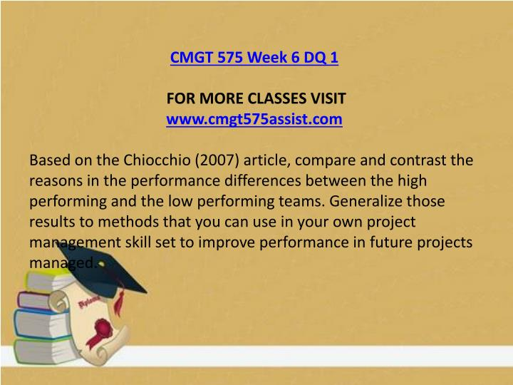 CMGT 575 Week 6 DQ 1