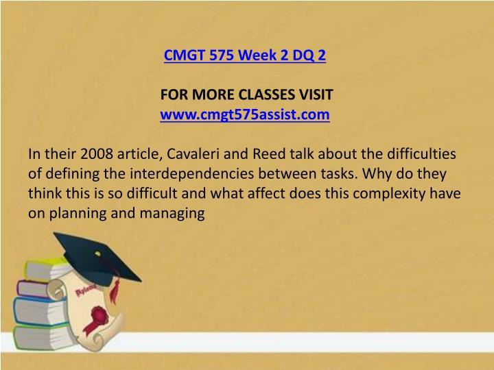 CMGT 575 Week 2 DQ 2