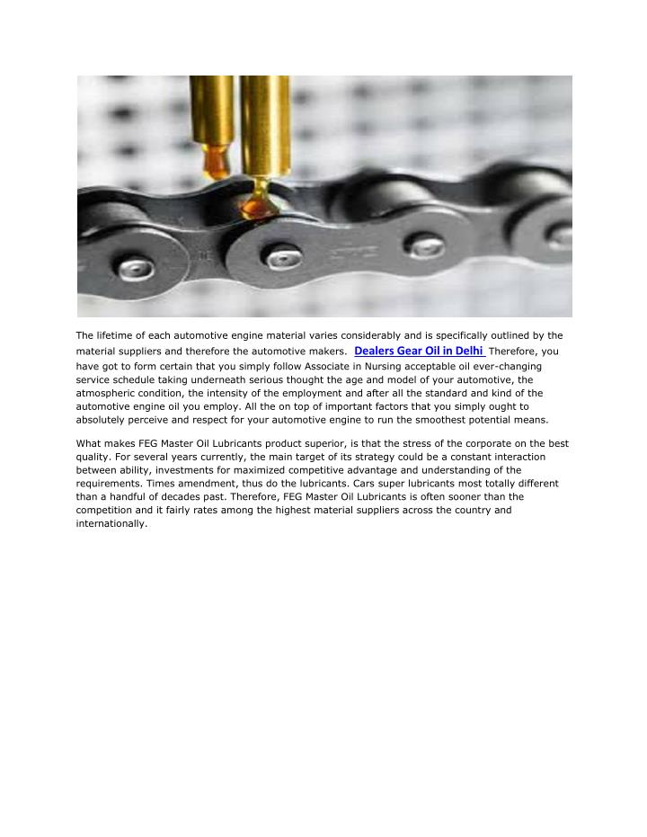The lifetime of each automotive engine material varies considerably and is specifically outlined by ...