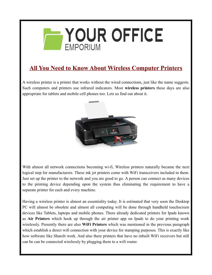 All You Need to Know About Wireless Computer Printers