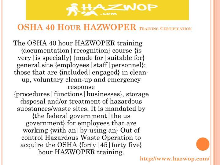 OSHA 40 H