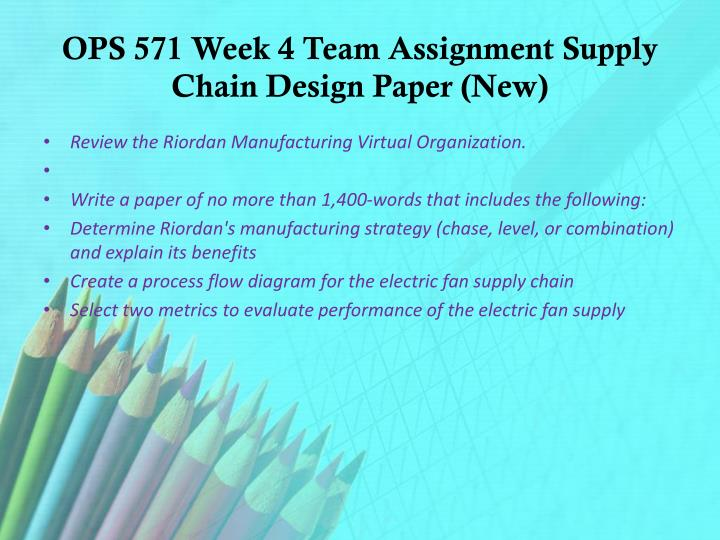 ops 571 week 6 identify which iso standards apply to riordan manufacturing Riordan manufacturing is planning to improve operations for fan production competition in the fan industry is forcing the company to evaluate operations and make improvements to remain competitive riordan has identified three key areas for improvement, process design, supply chain, and forecasting.
