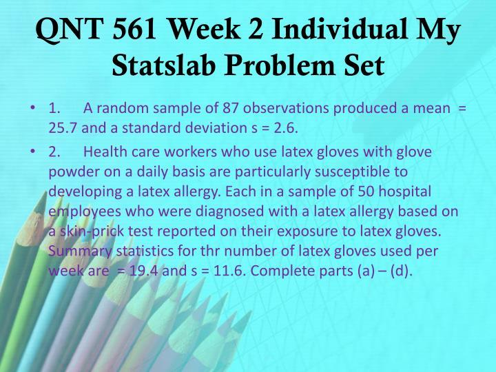QNT 561 Week 2 Individual My