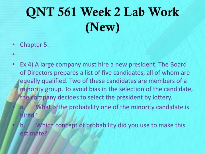 QNT 561 Week 2 Lab Work (New)
