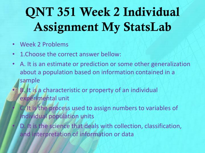 QNT 351 Week 2 Individual Assignment My