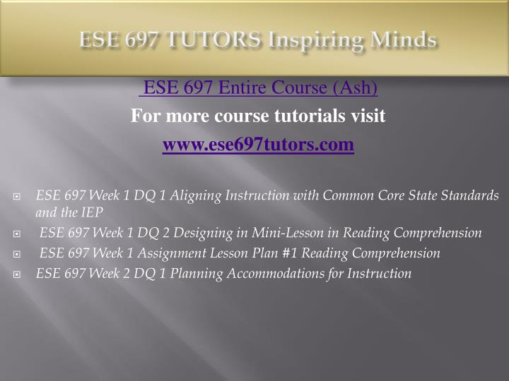 Ese 697 tutors inspiring minds