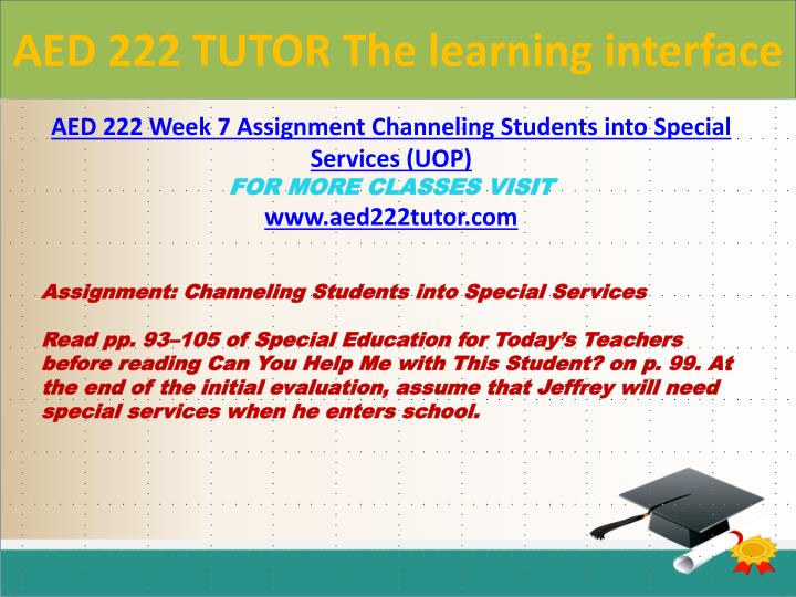 channeling students into special services Aed 222 week 6 checkpoint channeling students into a aed 222 week 7 assignment channeling students into special services aed 222.