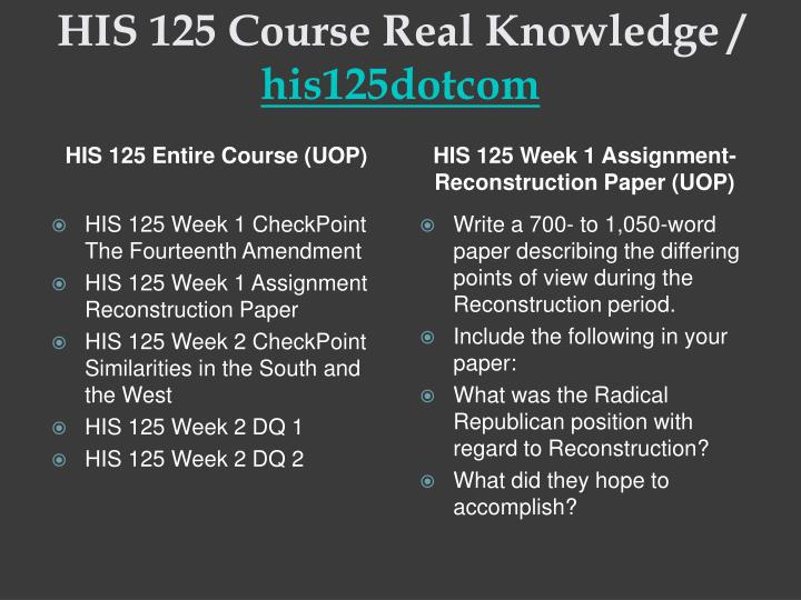His 125 course real knowledge his125dotcom1