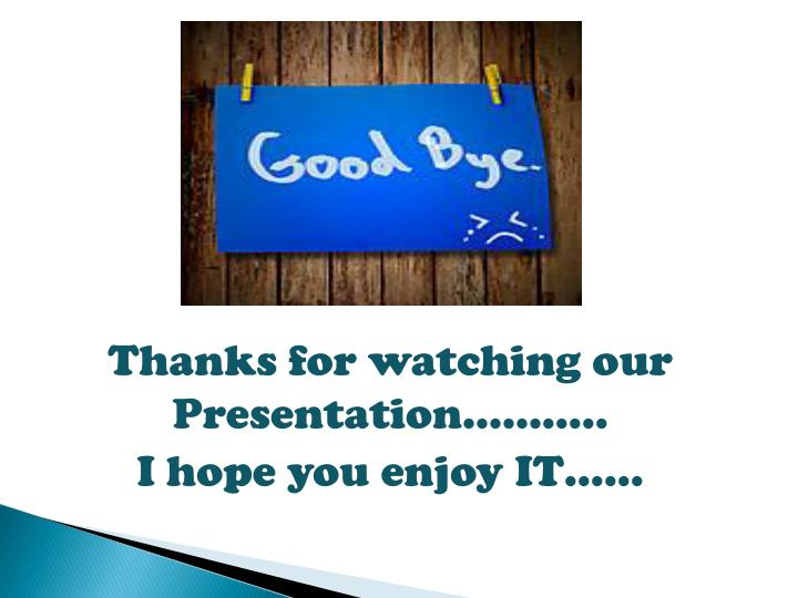 Thanks for watching our Presentation………..