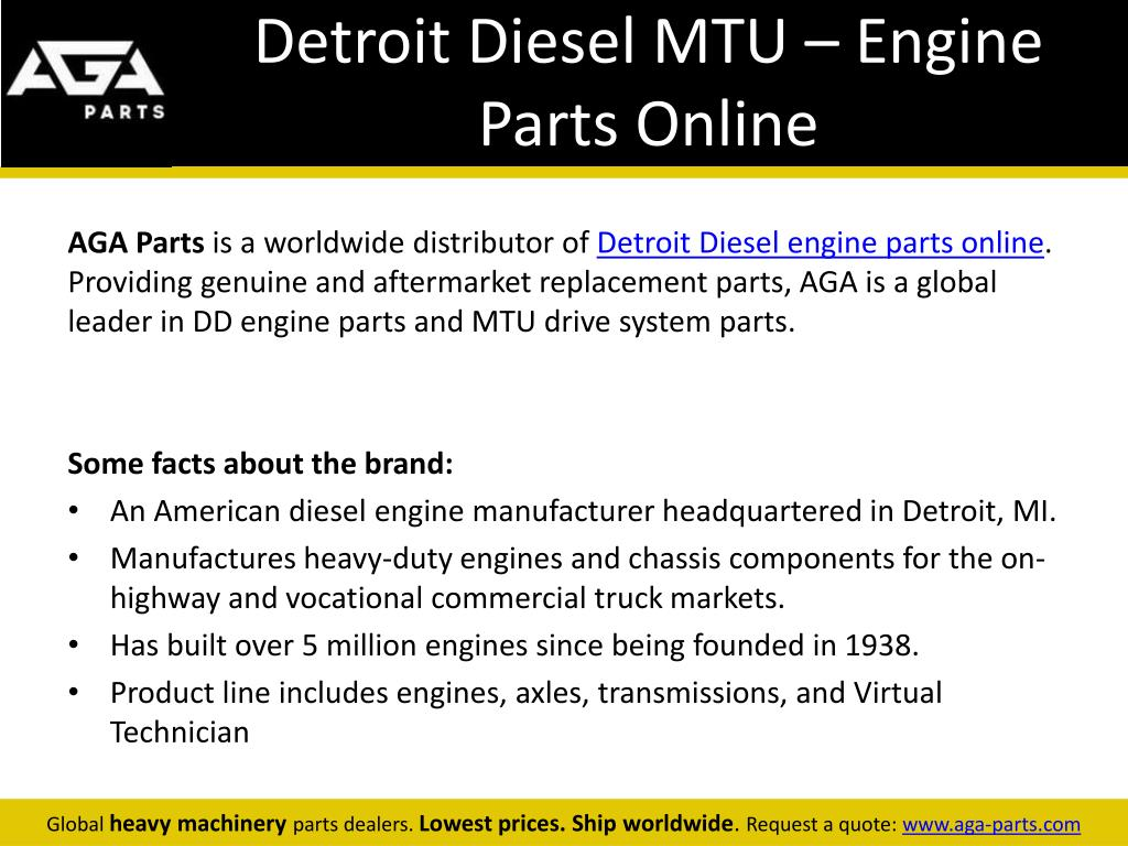 PPT - MTU Heavy Machinery, Engine Parts and Components - AGA Parts