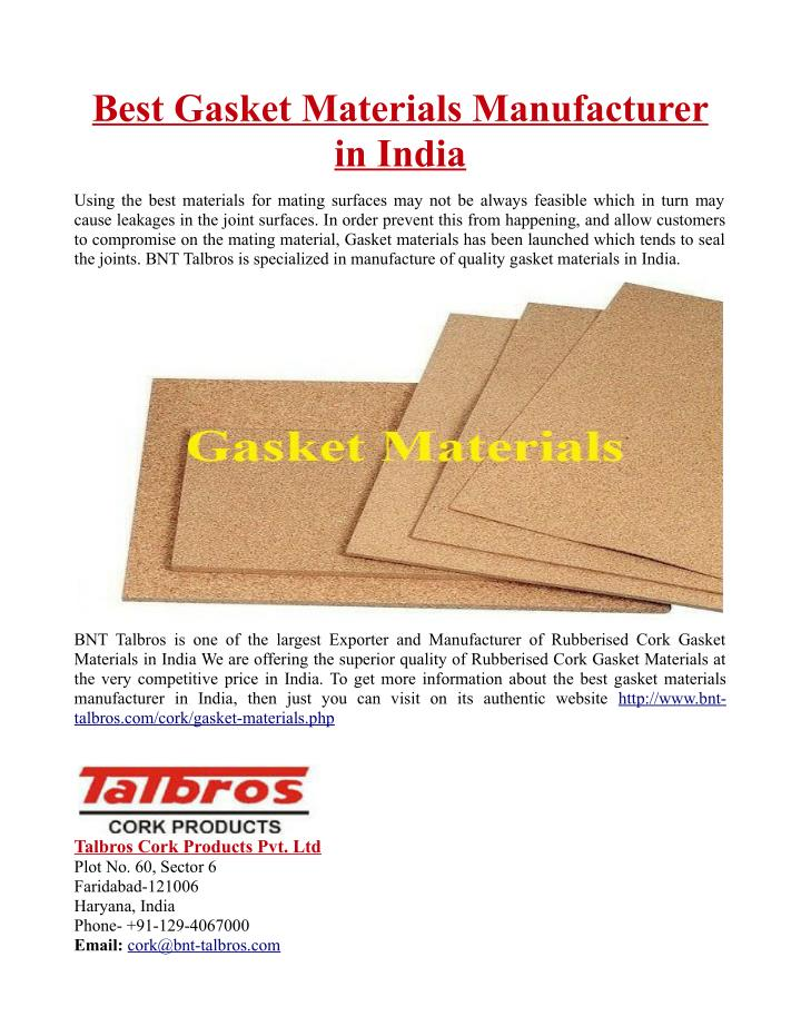 PPT - Best Gasket Materials Manufacturer in India PowerPoint