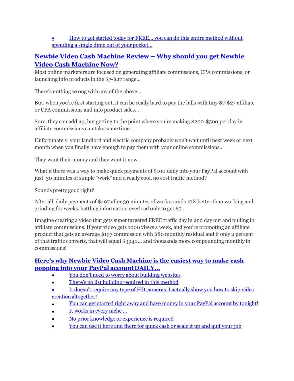 PPT - Newbie Video Cash Machine Review & Newbie Video Cash