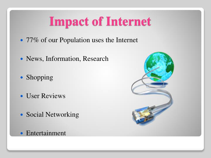 77% of our Population uses the Internet