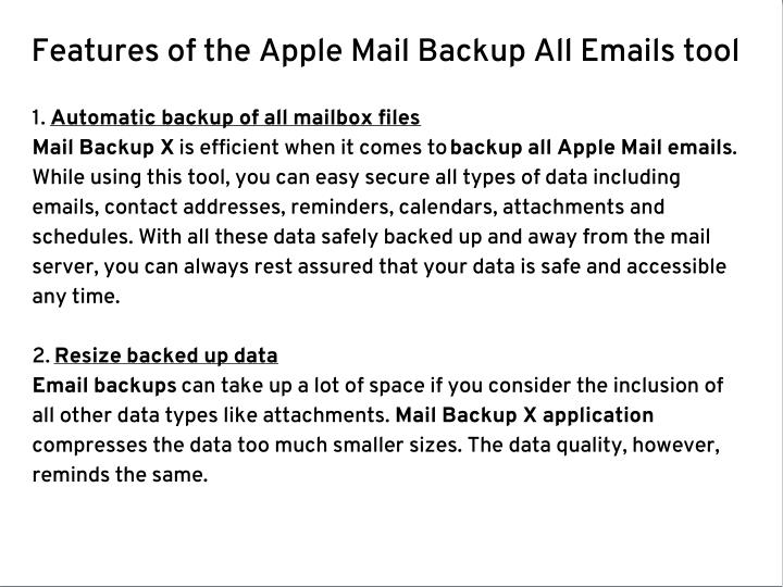 Features of the Apple Mail Backup All Emails tool