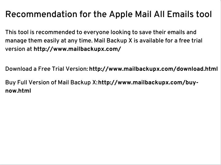 Recommendation for the Apple Mail All Emails tool