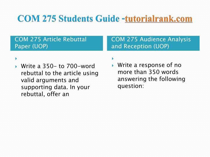 Com 275 students guide tutorialrank com1
