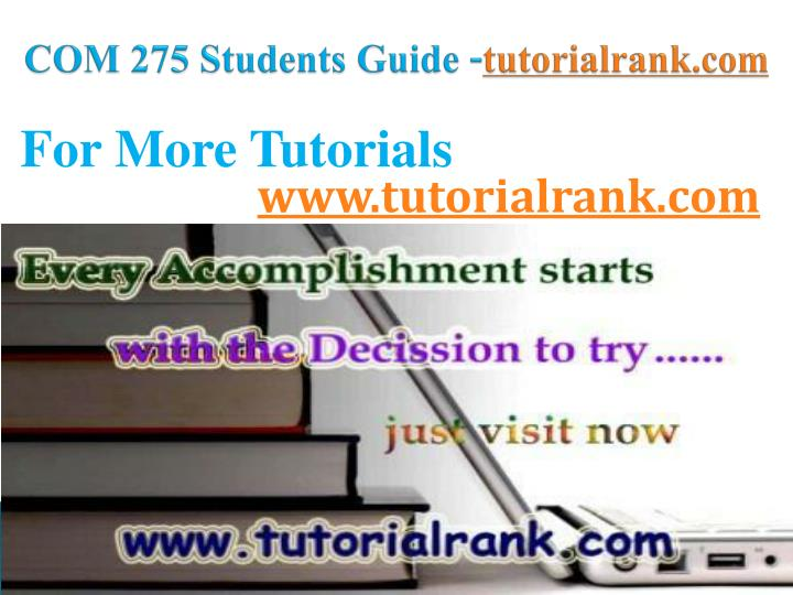 COM 275 Students Guide -