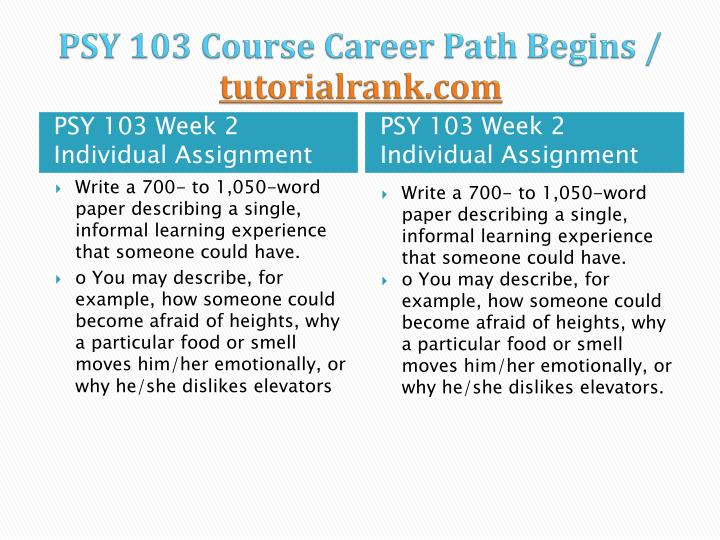 PSY 103 Course Career Path Begins