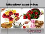 rakhi with flower cake and dry fruits