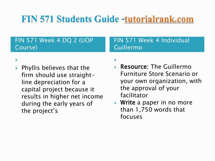 fin 571 week 6 furniture store Fin 571 week 5 individual text problems ch 17 problem fin 571 week 6 learning guillermo furniture store analysis fin 571 week 4 dq 1 fin 571.